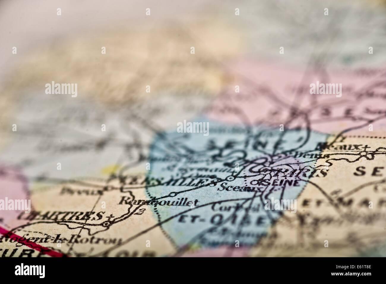 Antique Map Paris France, circa 1864 in selective focus. - Stock Image