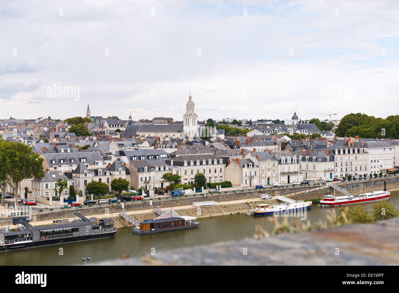 ANGERS, FRANCE - JULY 28, 2014: quay des Carmes in Anges, France. Angers is city in western France and it is the - Stock Image