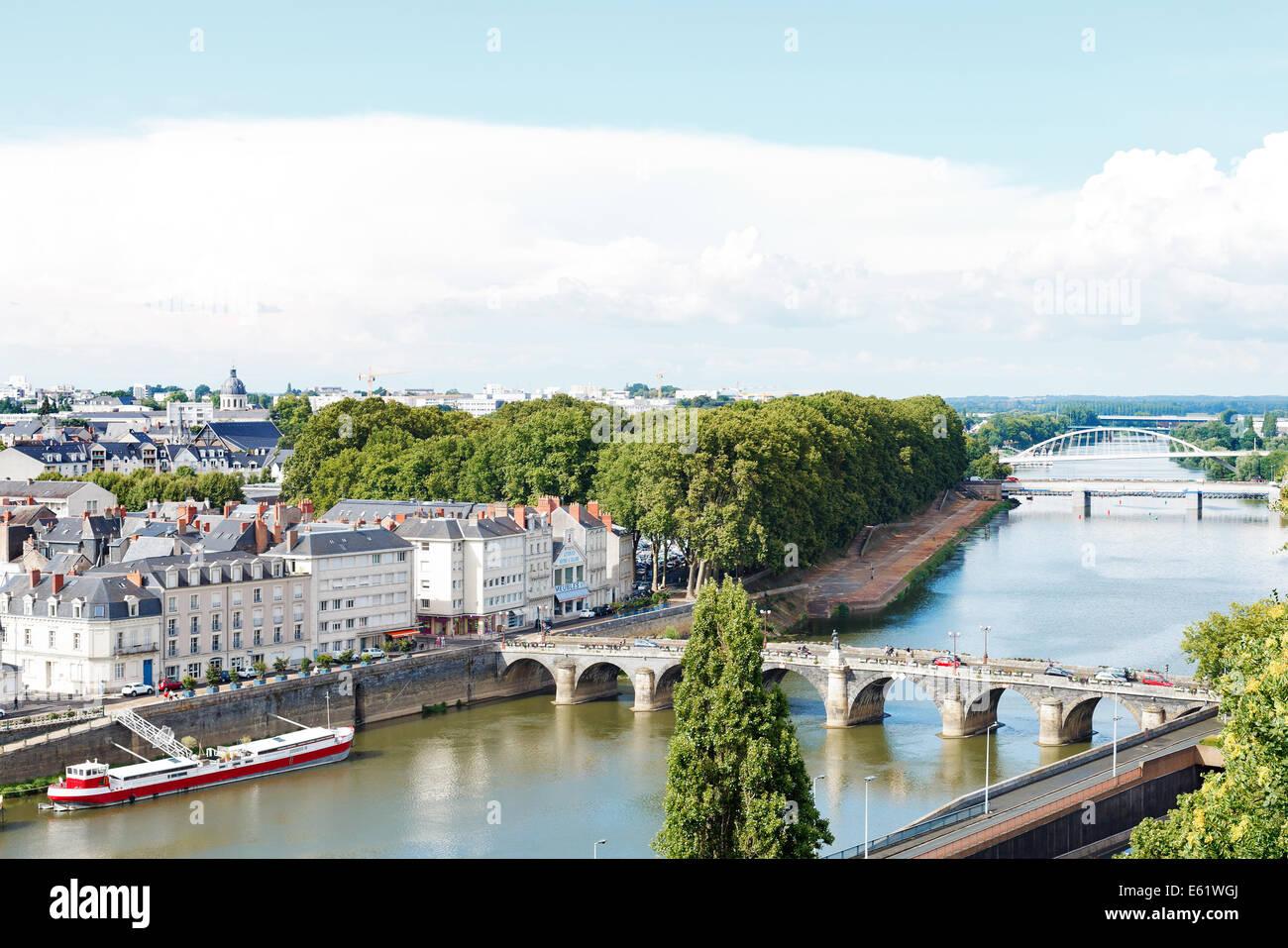 ANGERS, FRANCE - JULY 28, 2014: Monge Quai, bridges Pont de Verdun and Pont de Haute Chaine on La Maine river in - Stock Image