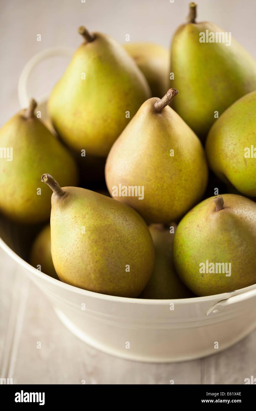 Beurre Hardy Pears in Enamel Bowl - Stock Image