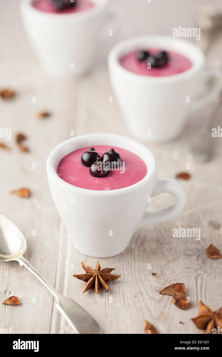 Blackcurrant & Star Anise Creams - Stock Image