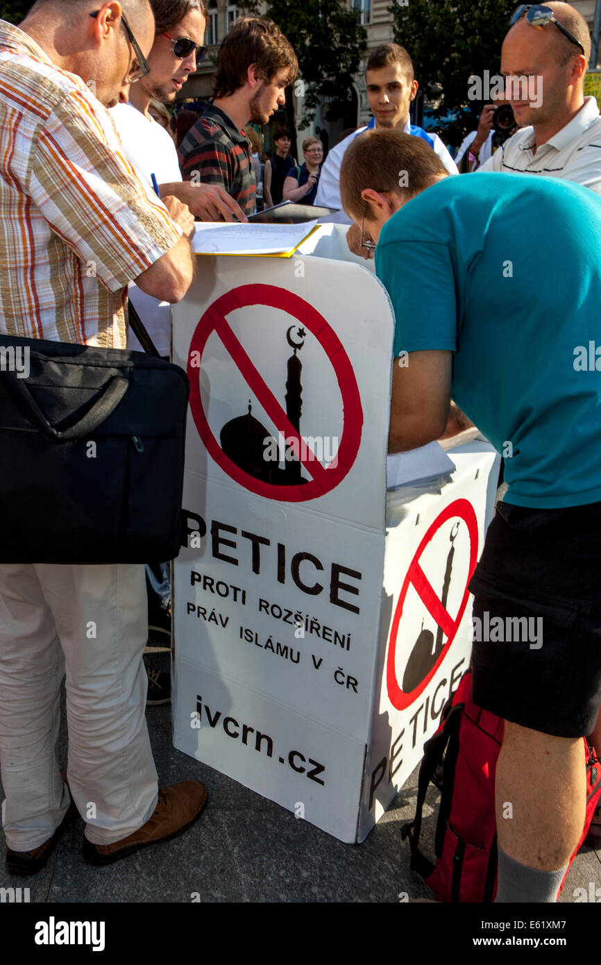Petition against extending rights of Islam in the Czech Republic - Stock Image