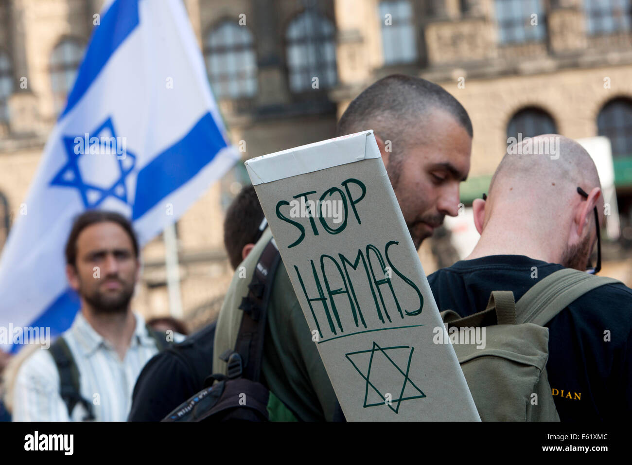 Stop Hamas, Demonstration in support of Israel, Prague Czech Republic Stock Photo