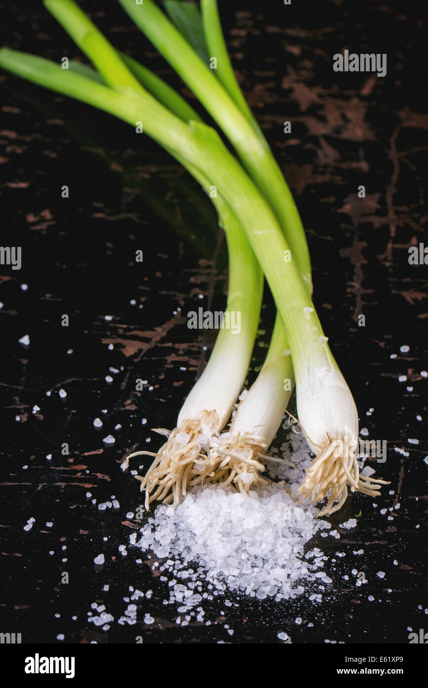 Green onions with sea salt over black wooden table. Top view - Stock Image