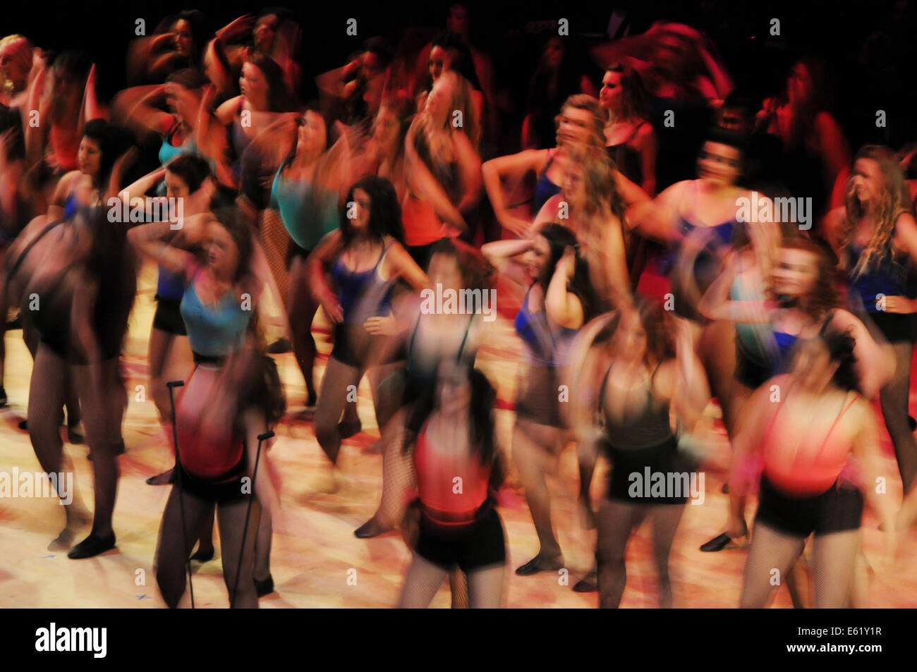 Dana Hills High School students performing on stage at Soka Performing Arts Center - Stock Image