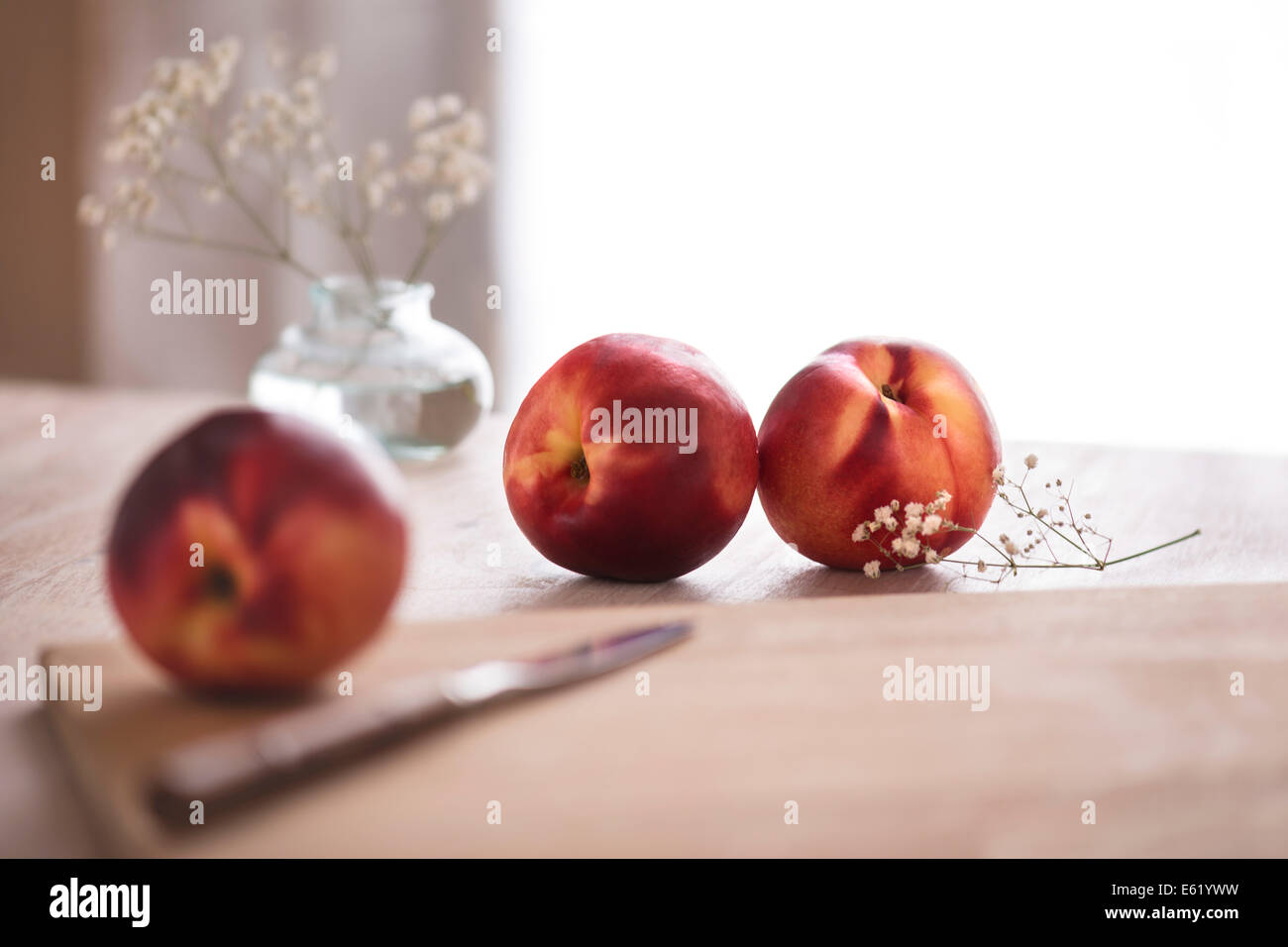 White nectarines on a cutting board with white flowers. Light, bright, summery background. - Stock Image