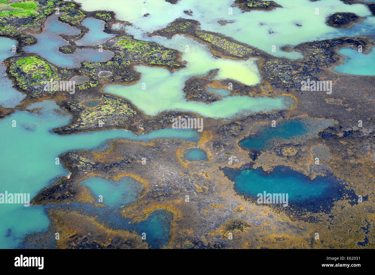 Aerial photo of delta patterns from melting glacier at the mouth of Olfusa River in Southwest Iceland - Stock Image