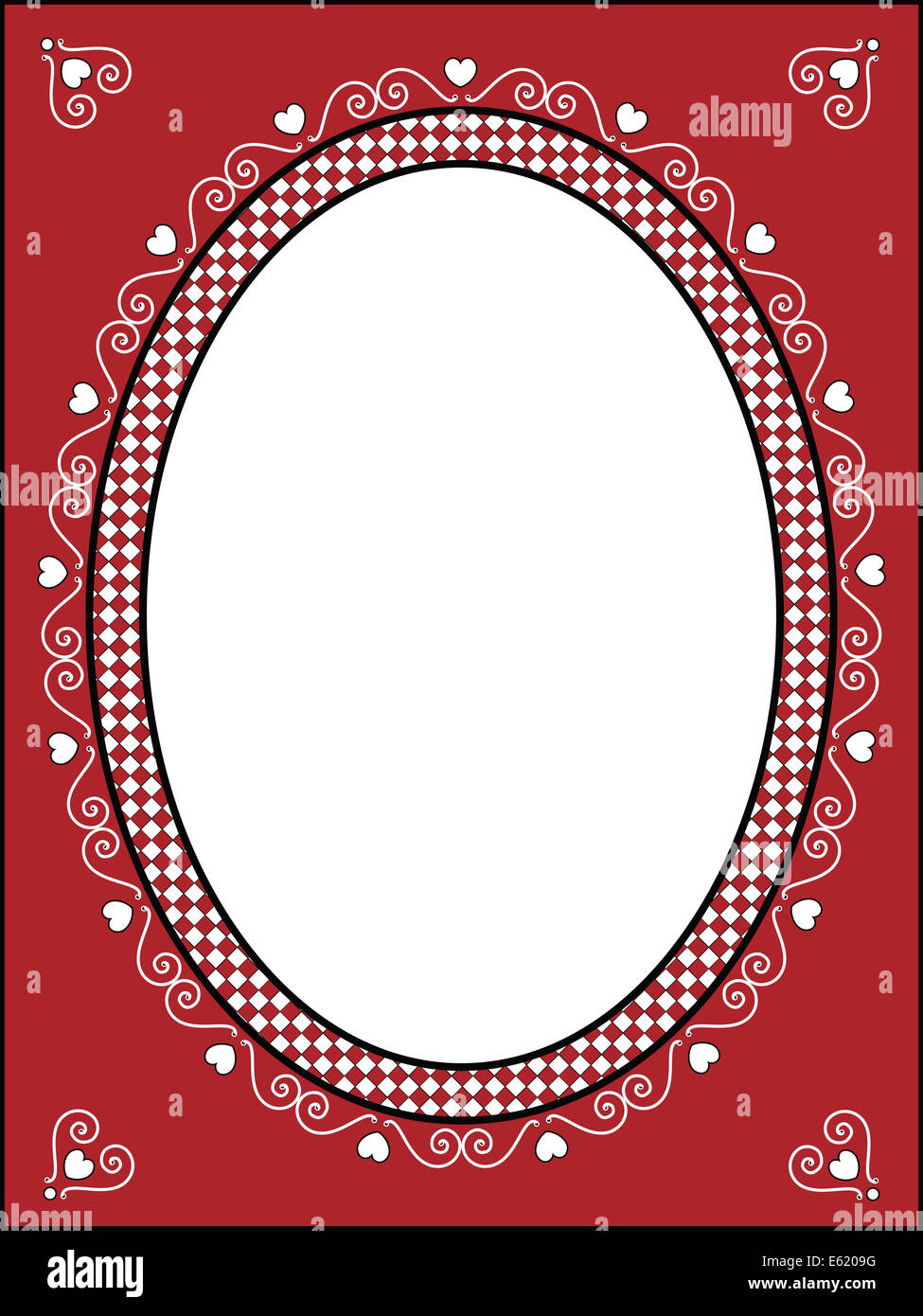 red black and white valentine border frame or tag with gingham