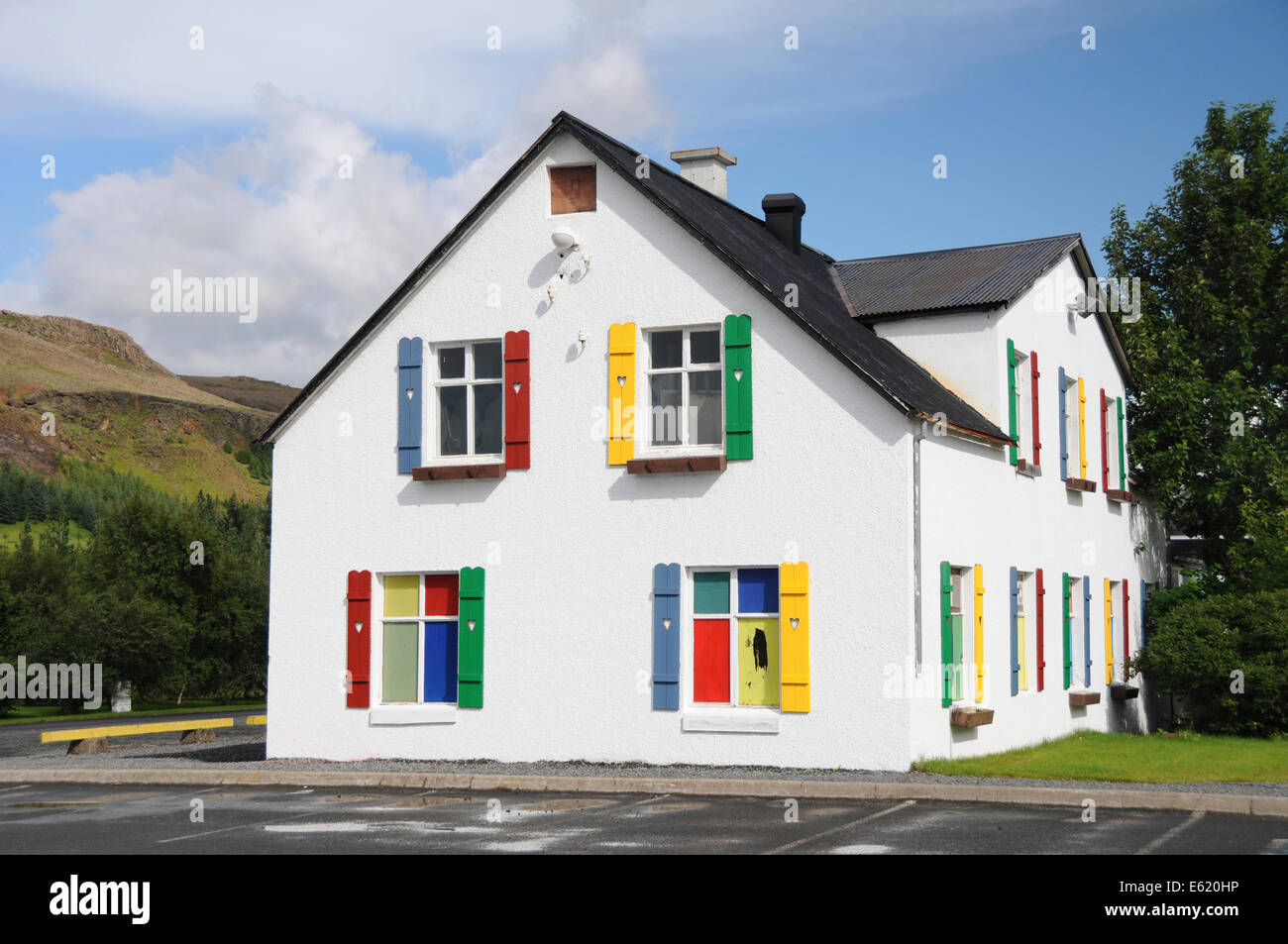 Colorful school house at Hveragerdi geothermal area, Hveragerdi valley, Hveragerði, Hveragerdisbaer, Iceland, - Stock Image