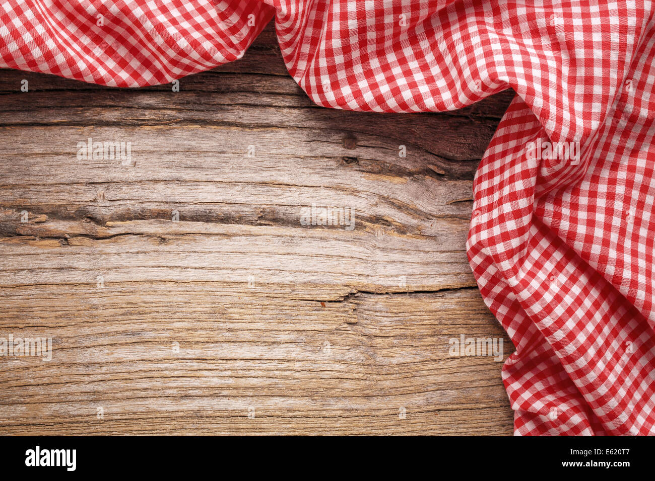 Checkered Tablecloth On Wooden Table Stock Photo 72573991