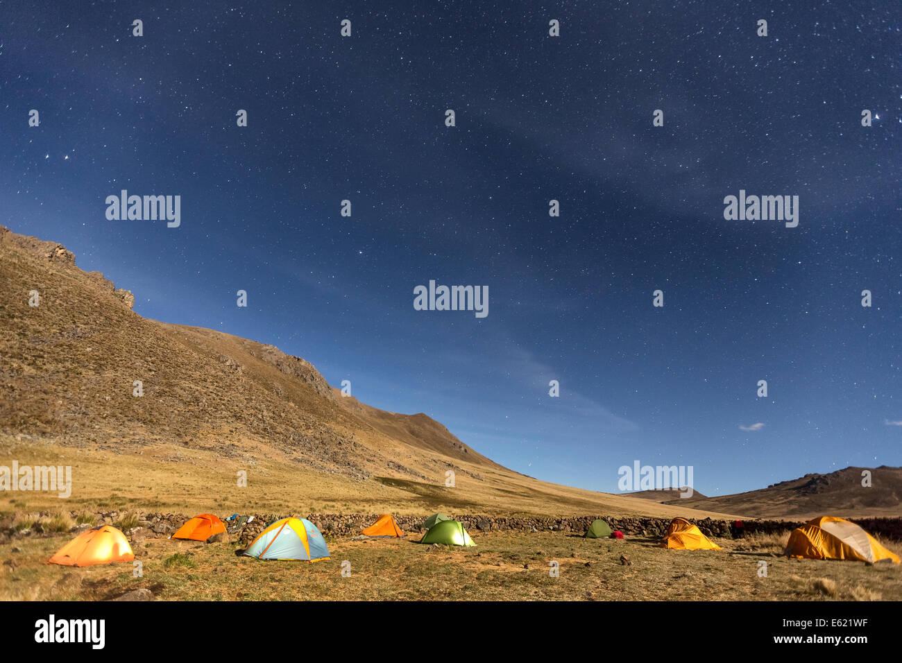 Tent camping at Hatun Machay rock climbing place, Cordillera Negra, Peru, South America - Stock Image