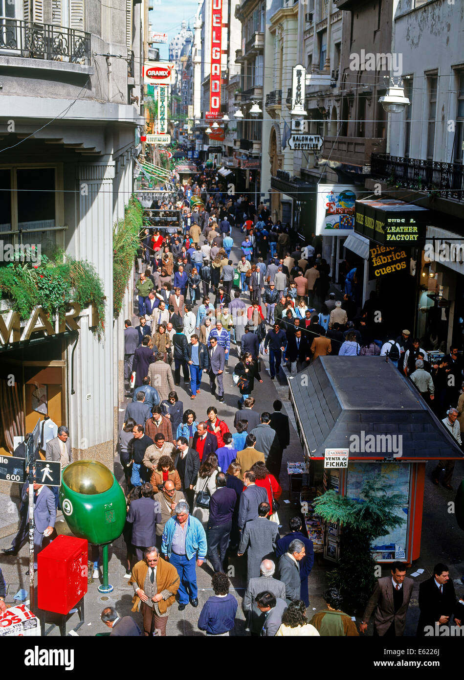 Pedestrians on crowded Calle Florida walking street in central Buenos Aires - Stock Image