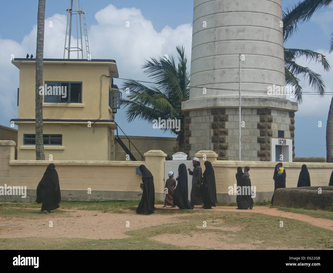 Muslim families in the old town in the Fort area in the historical city of Galle, in Sri Lanka - Stock Image