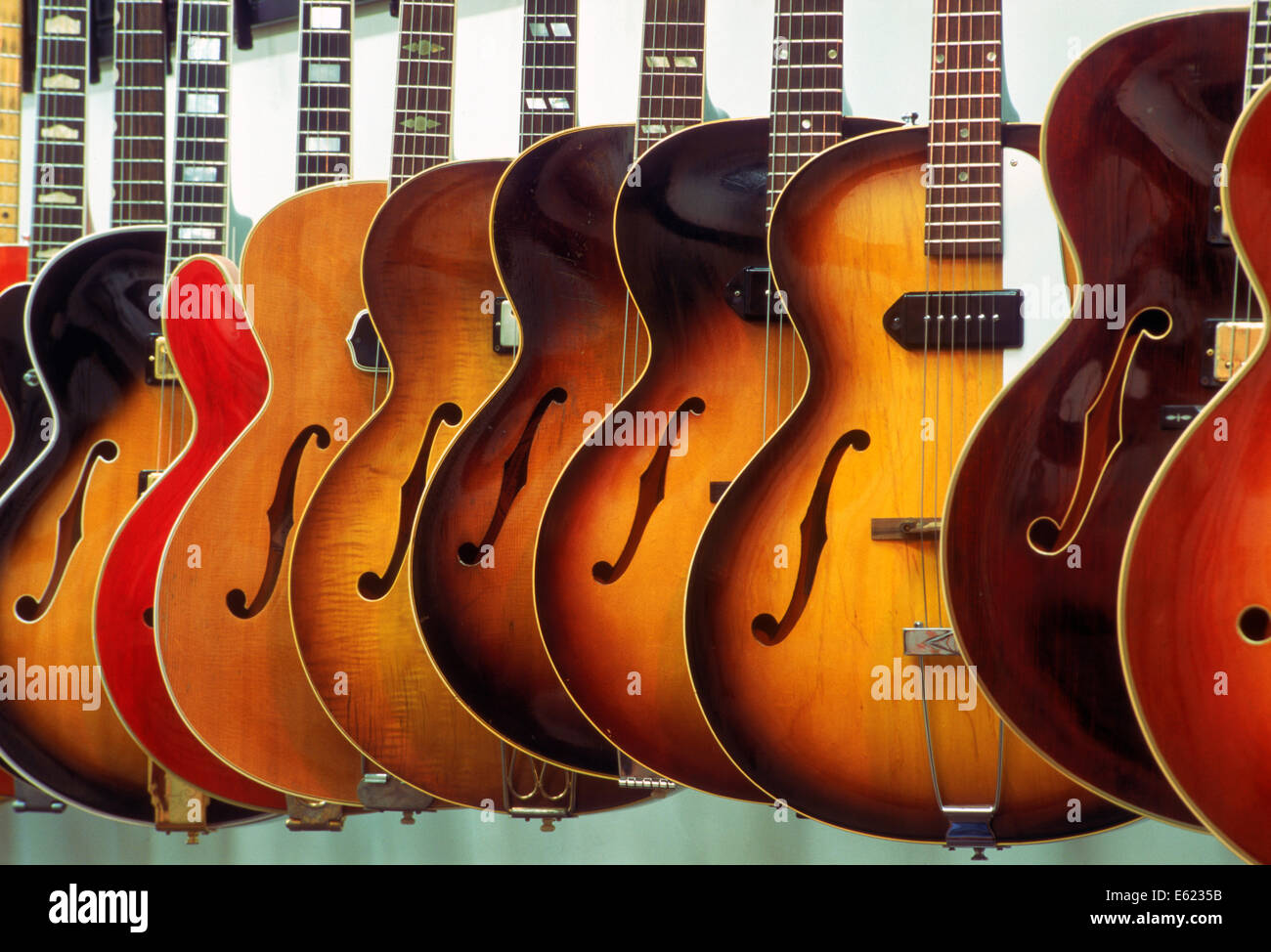 Made in America.  Grunn Guitars shop in Nashville Tennessee selling musical instruments - Stock Image
