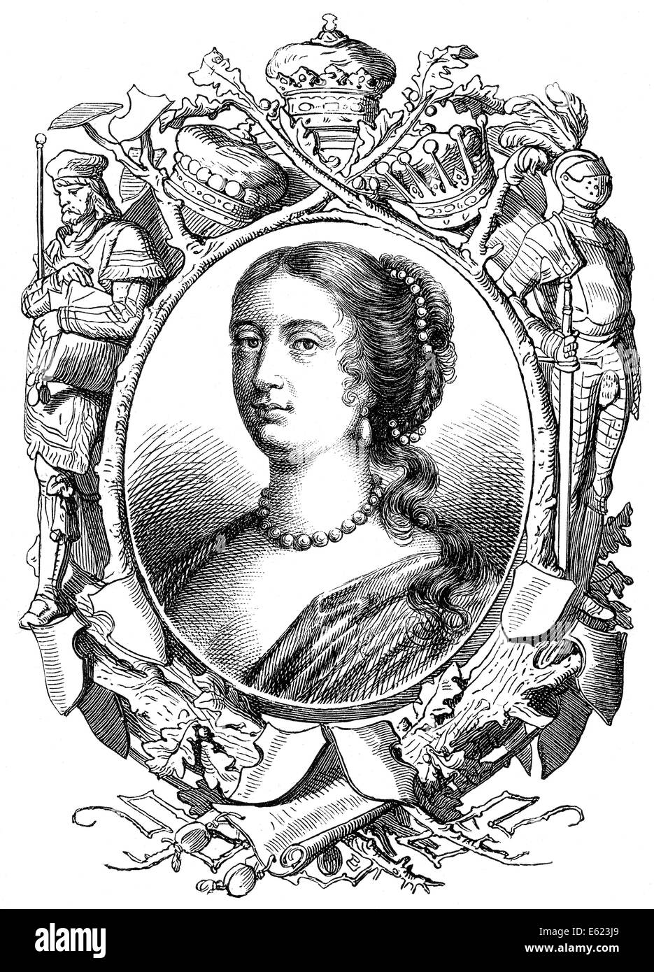 Rachel Wriothesley or Lady Russell, 1636 - 1723, an English aristocrat, Stock Photo