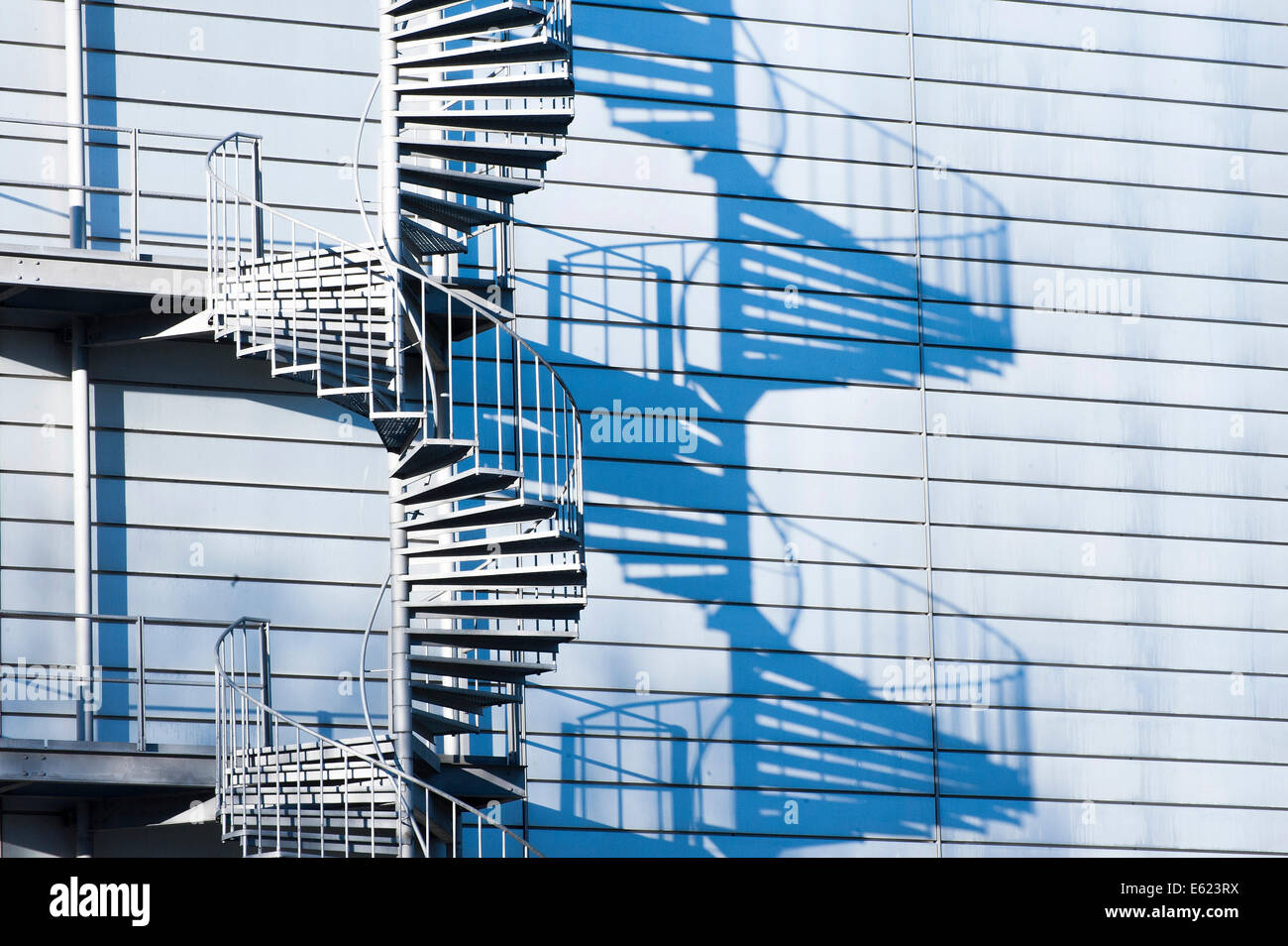 Factory Building, Industrial Plant, Spiral Staircase, Outdoor Staircase,  Emergency Stairs, Fire Escape, Munich, Upper Bavaria