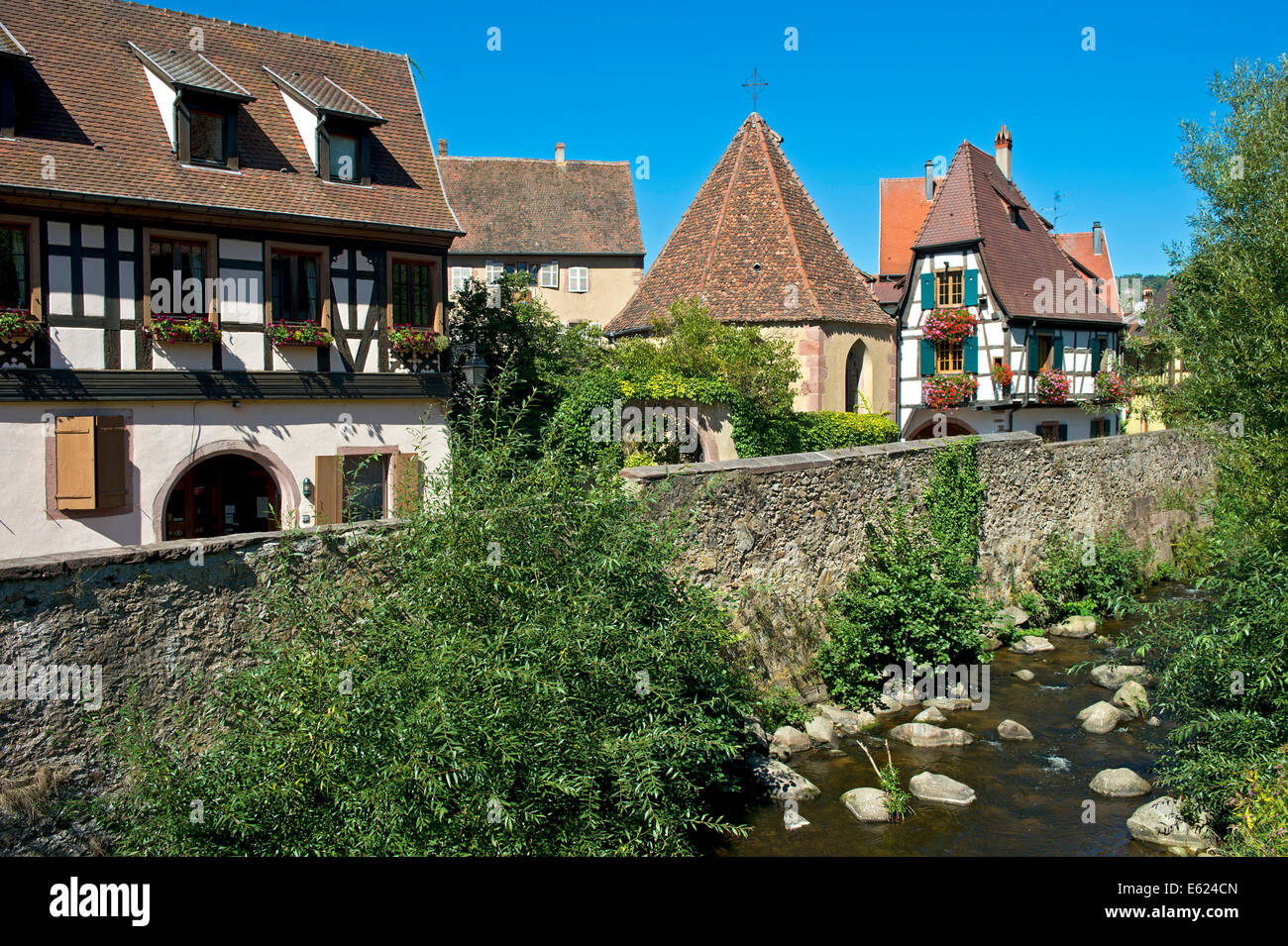 Oberhof Chapel on the Weiss River, Kaysersberg, Alsace, France - Stock Image