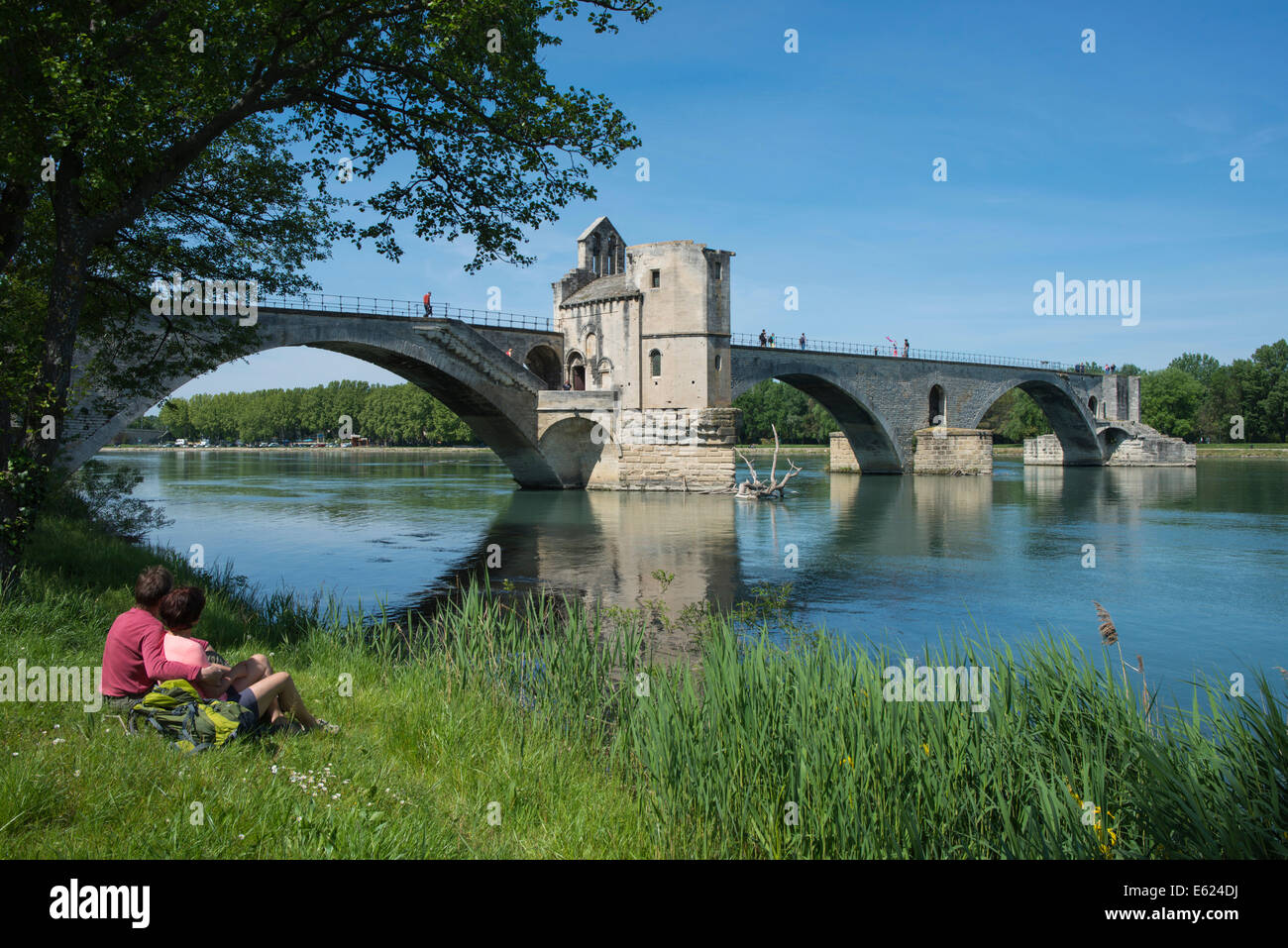Rhône with the Pont Saint-Bénézet bridge, also known as Pont d'Avignon, Avignon, Provence-Alpes - Stock Image