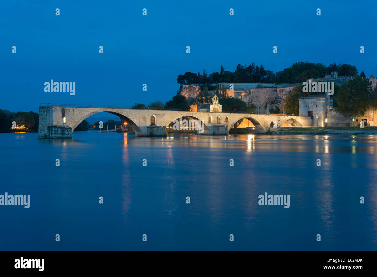 Rhône with the Pont Saint-Bénézet bridge, also known as Pont d'Avignon, Rocher des Doms rock - Stock Image