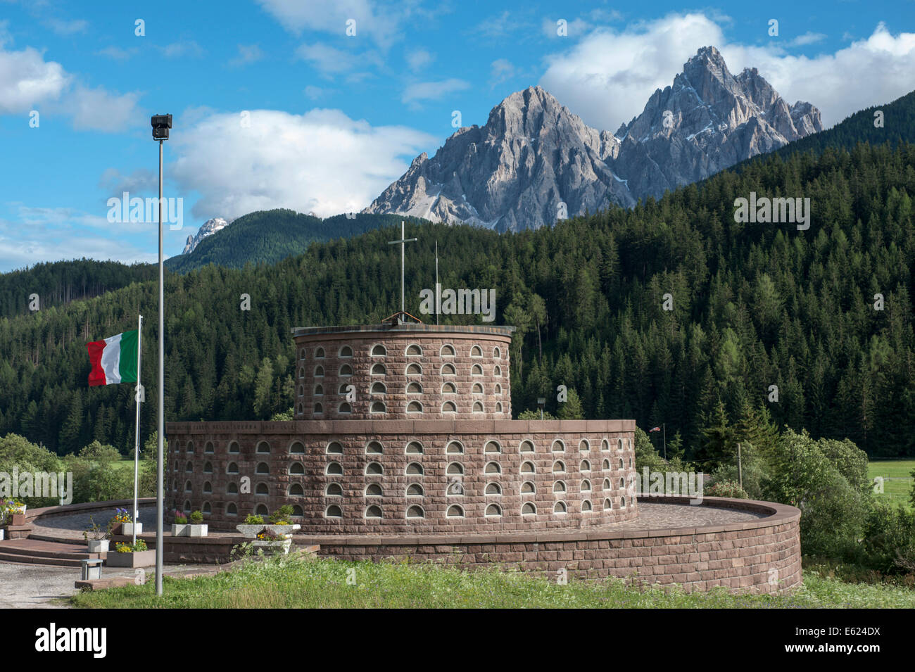 War Memorial, ossuary, built under Mussolini in 1939, Innichen, Trentino-Alto Adige, Italy - Stock Image