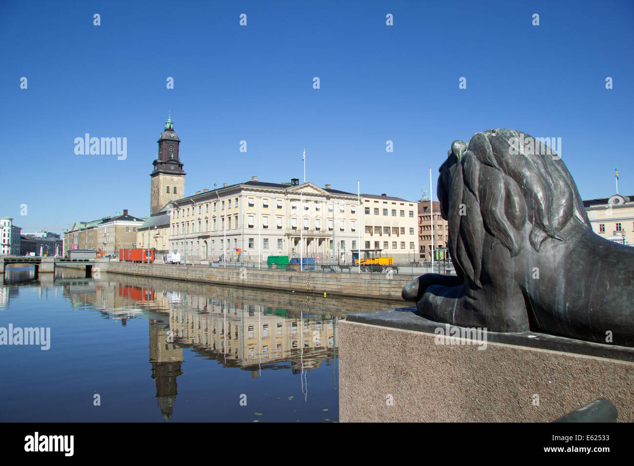 Stora Hamn Canal with the German Church in Gothenburg Sweden - Stock Image