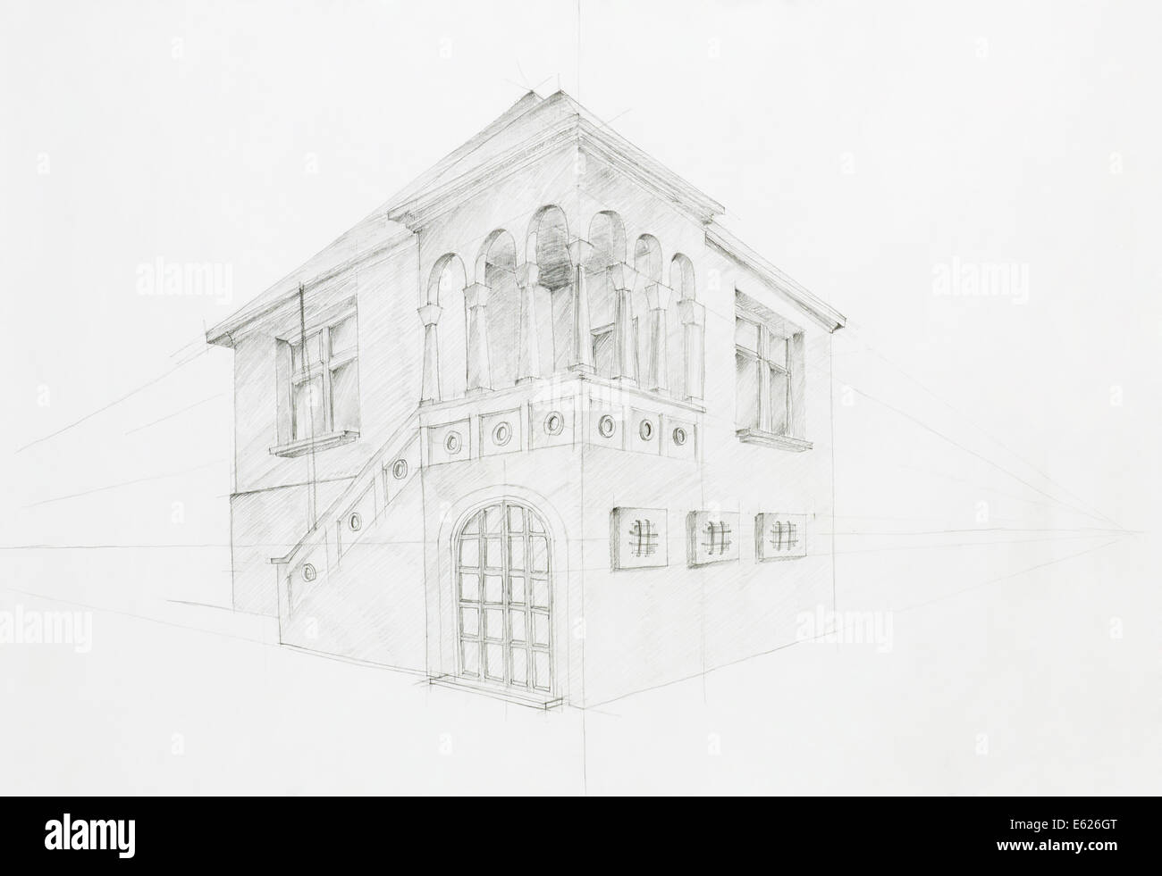 Graphic Sketch Architectural Perspective Of Old House Drawn By