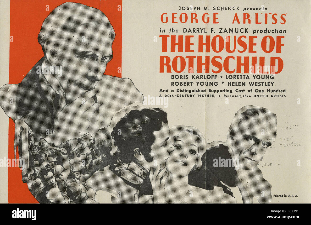 THE HOUSE OF ROTHSCHILD - Movie Poster- Directed by Alfred Werker - United Artists, 1934 - Stock Image