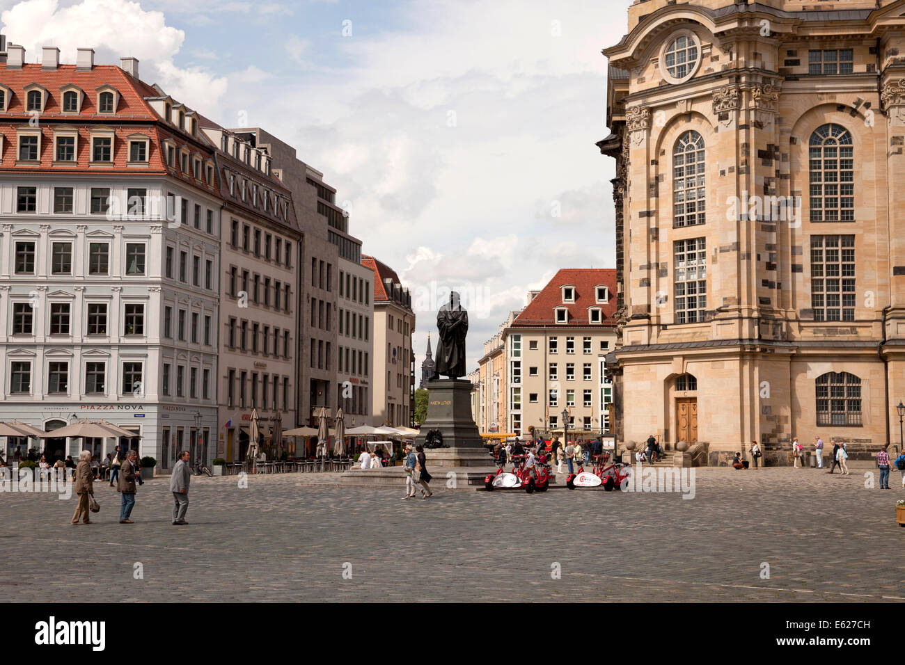 Martin Luther statue in front of the Frauenkirche  on  Neumarkt new market square  in Dresden, Saxony, Germany, Stock Photo
