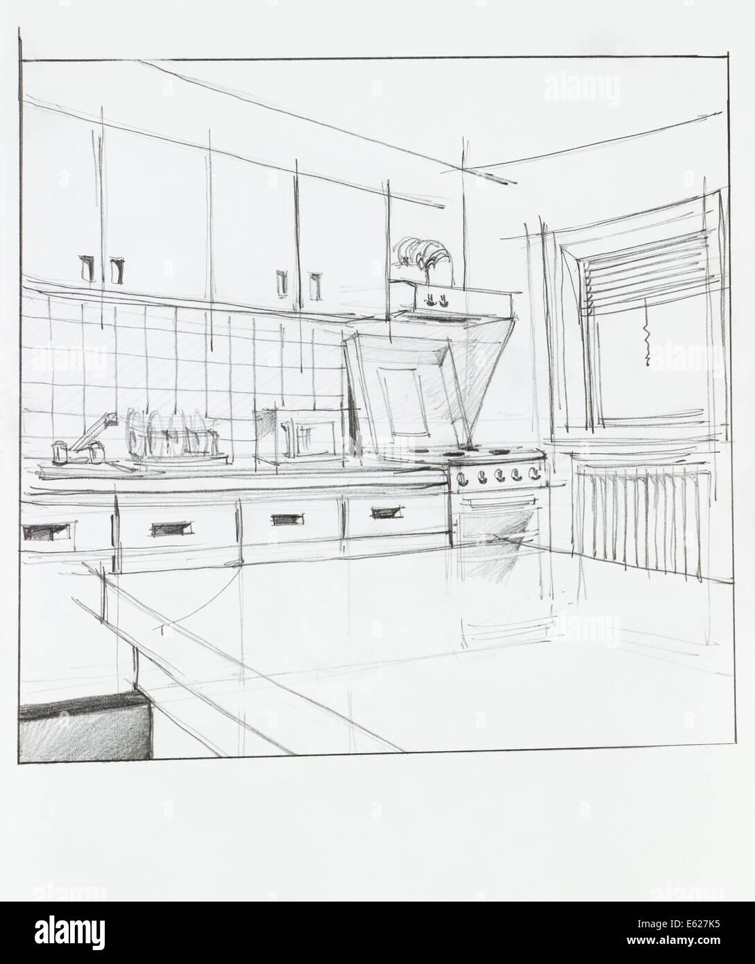 Interior hand drawn perspective of kitchen