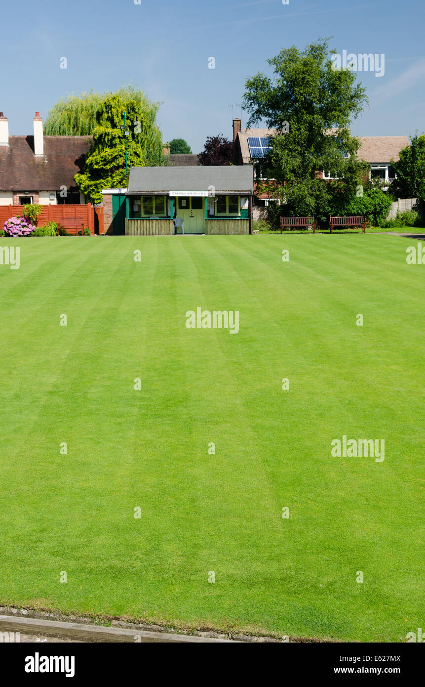 The bowling green at Penkridge Bowling Club in the historic Staffordshire town - Stock Image
