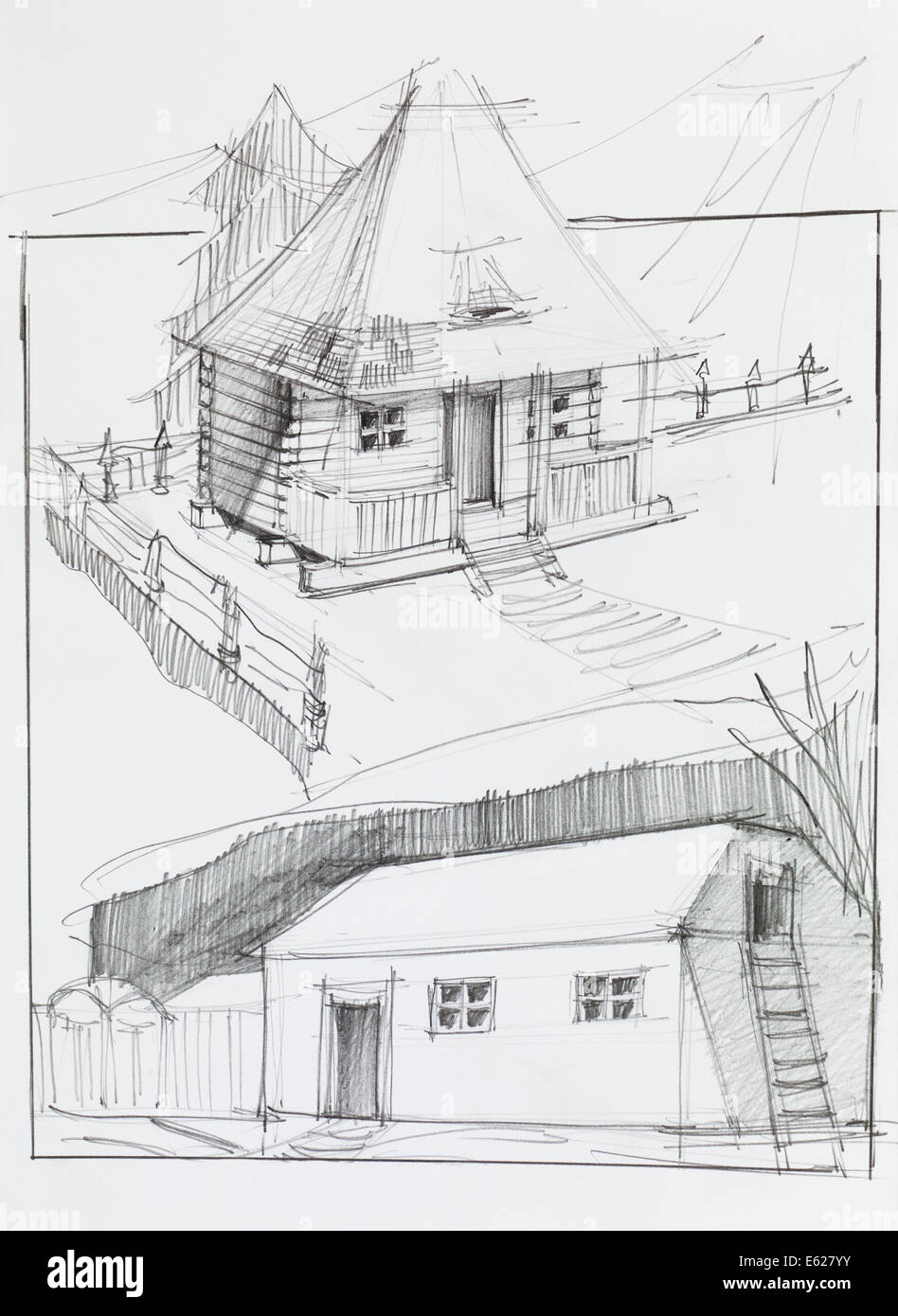 Hand drawn pencil sketch of an old country house and barn