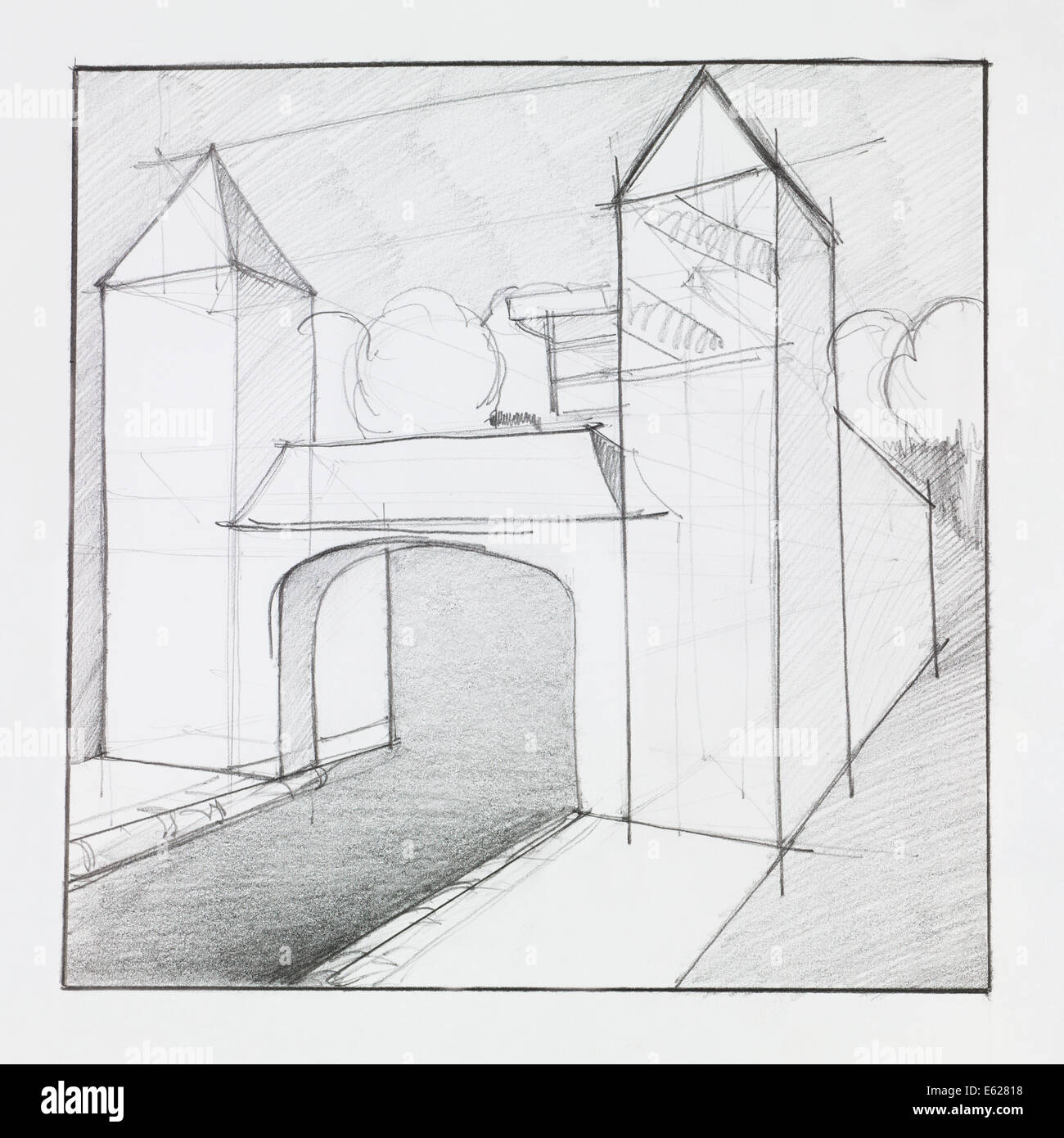 Architectural perspective of arched gate with towers made out of geometrical forms drawn by hand