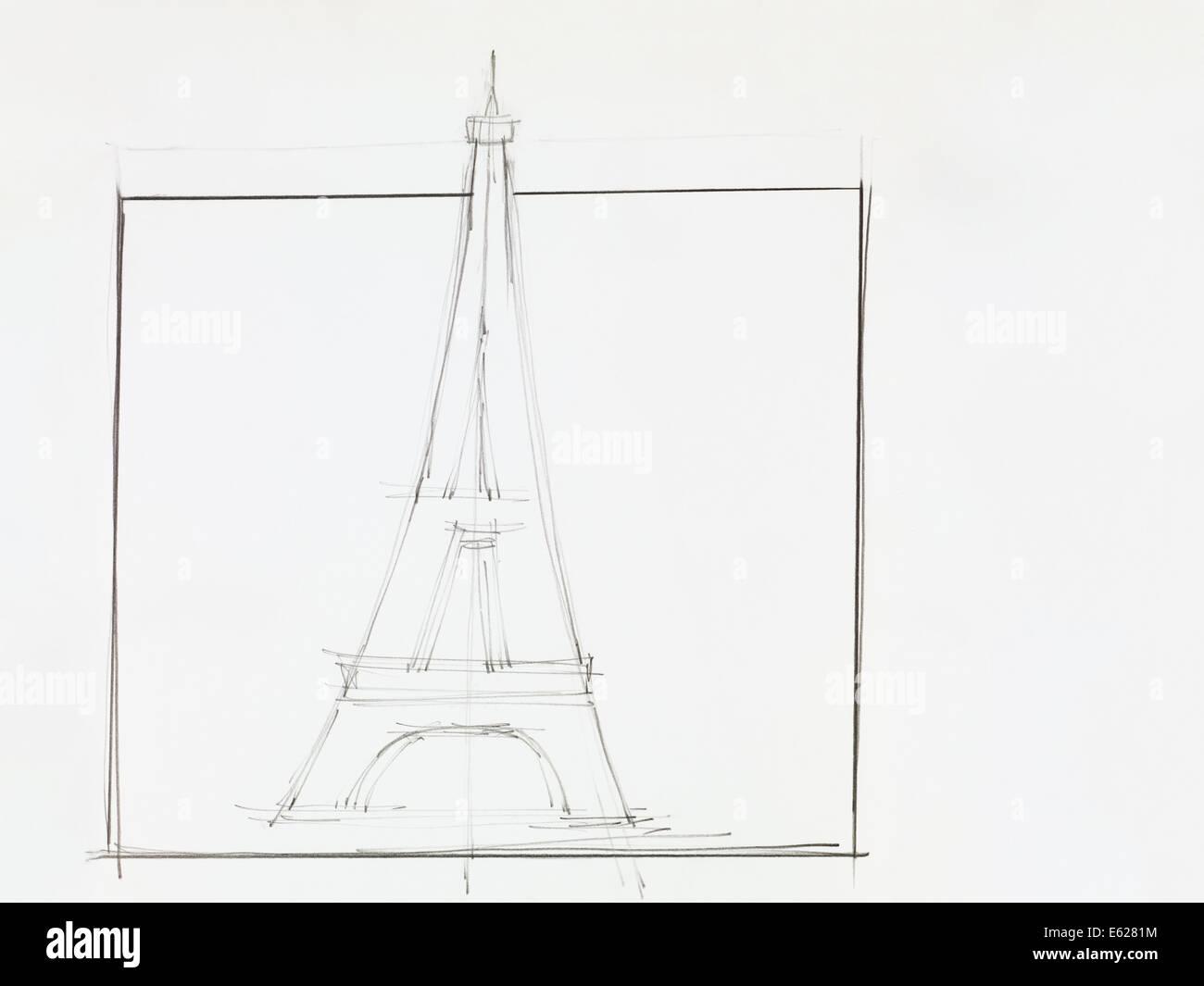 Hand drawn pencil sketch of eiffel tower
