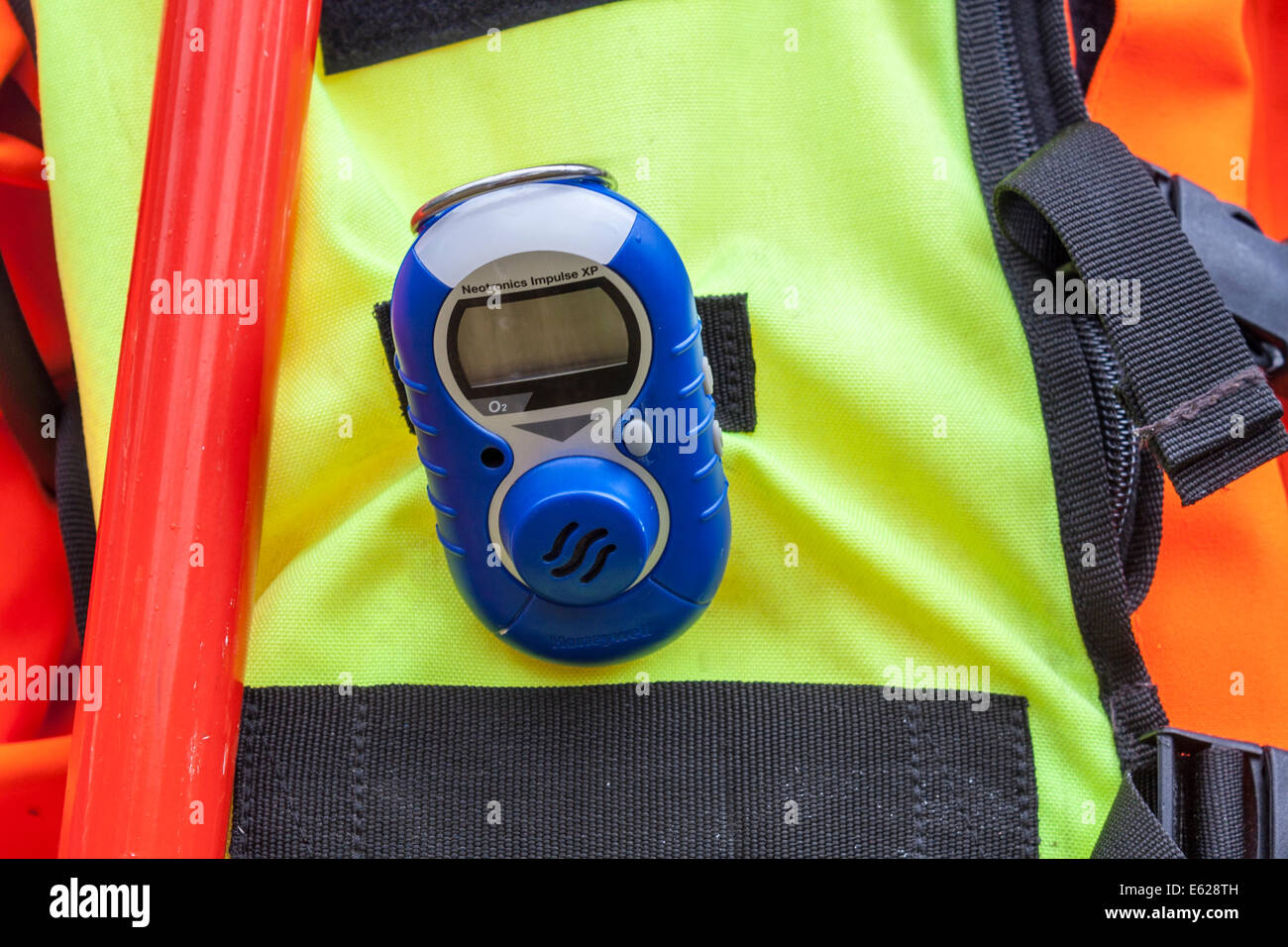 Gas Detector for use by Emergency services  on a protective clothing outfit. - Stock Image