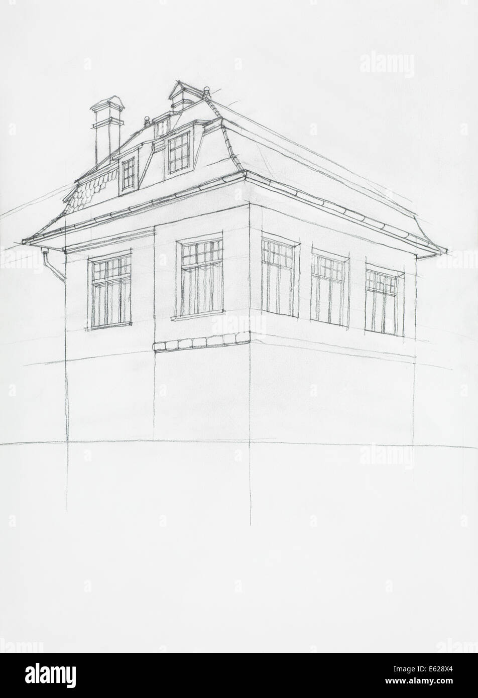 Architectural Sketch Of House Perspective Construction Hand Drawn