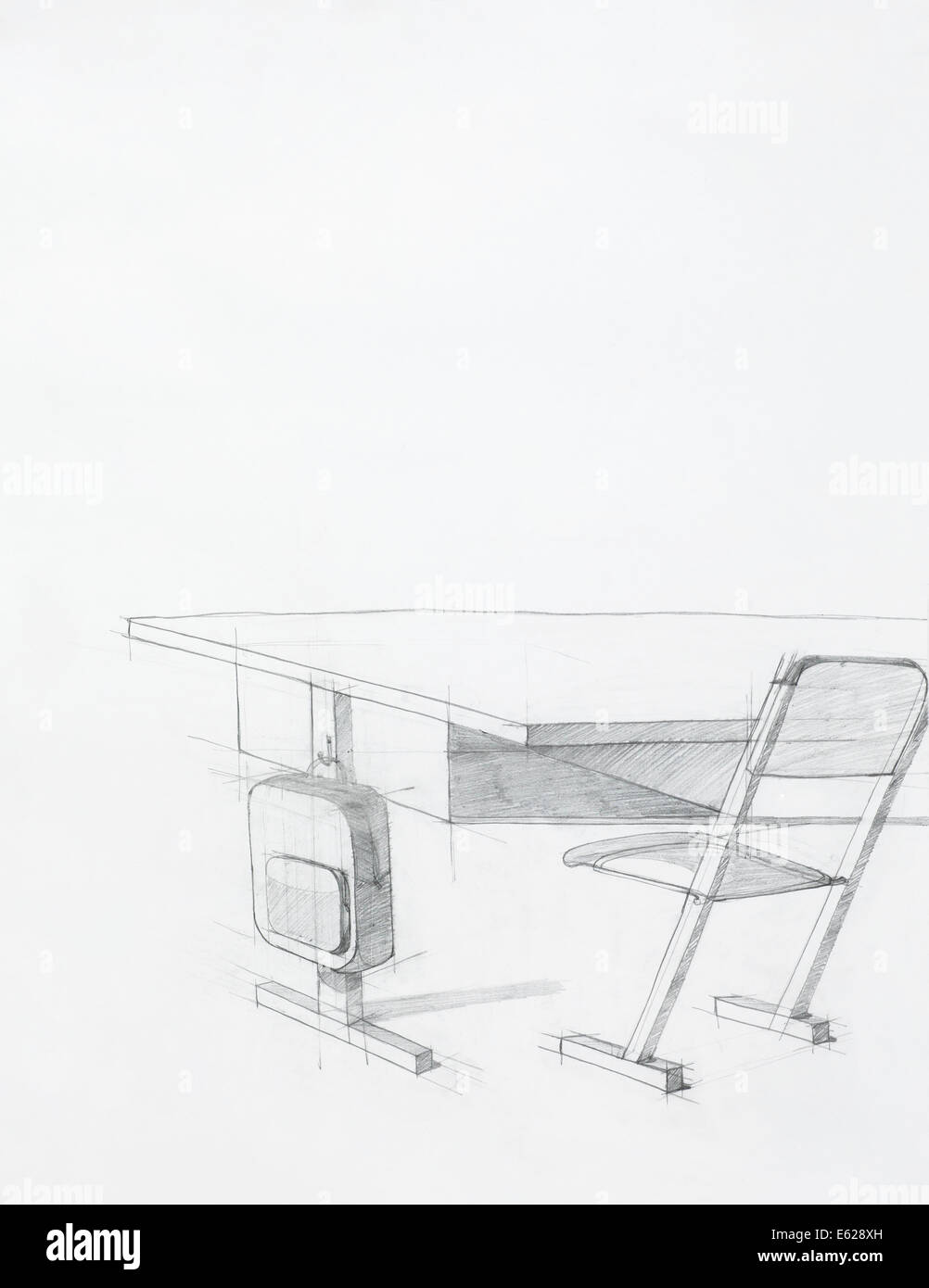 hand drawn sketch of school desk and chair, artistic study Stock