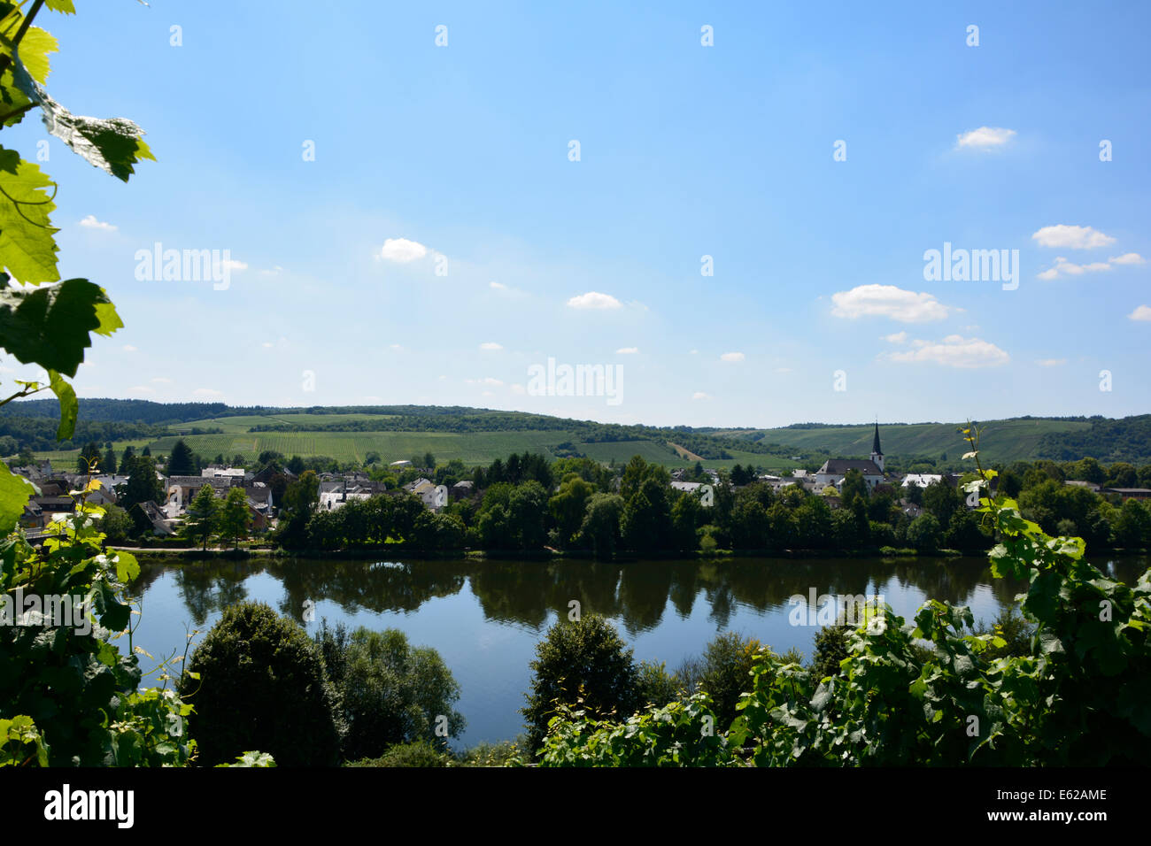 Longuich Moselle river valley vineyard landscape with blue sky Mosellandschaft Moseltal Römische Weinstrasse Germany Mosel Fluss Stock Photo