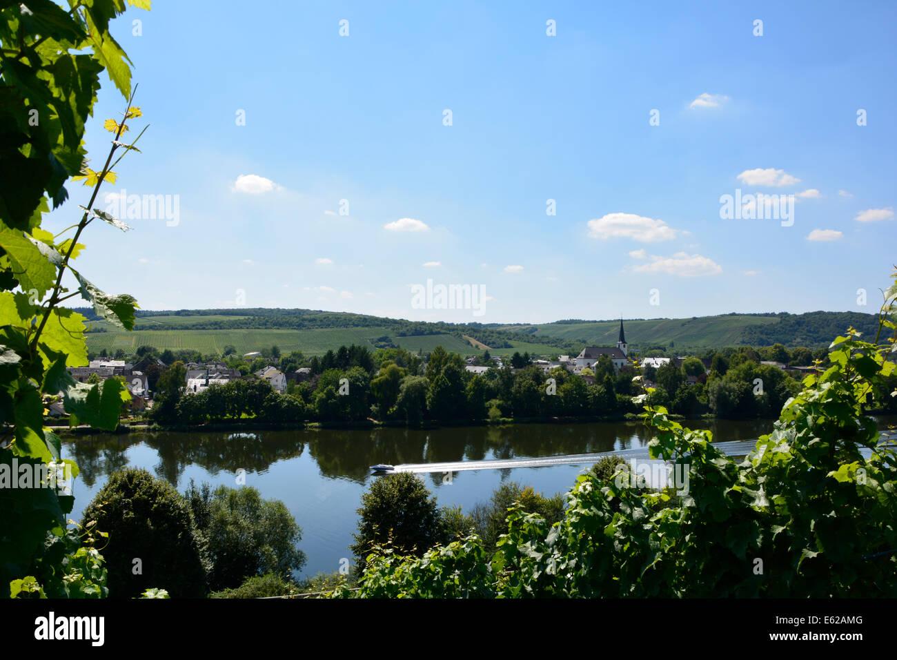 Longuich Moselle river valley landscape with blue sky Germany Mosel Römische Weinstrasse Schweich Moseltal blauer Himmel Fluss Stock Photo