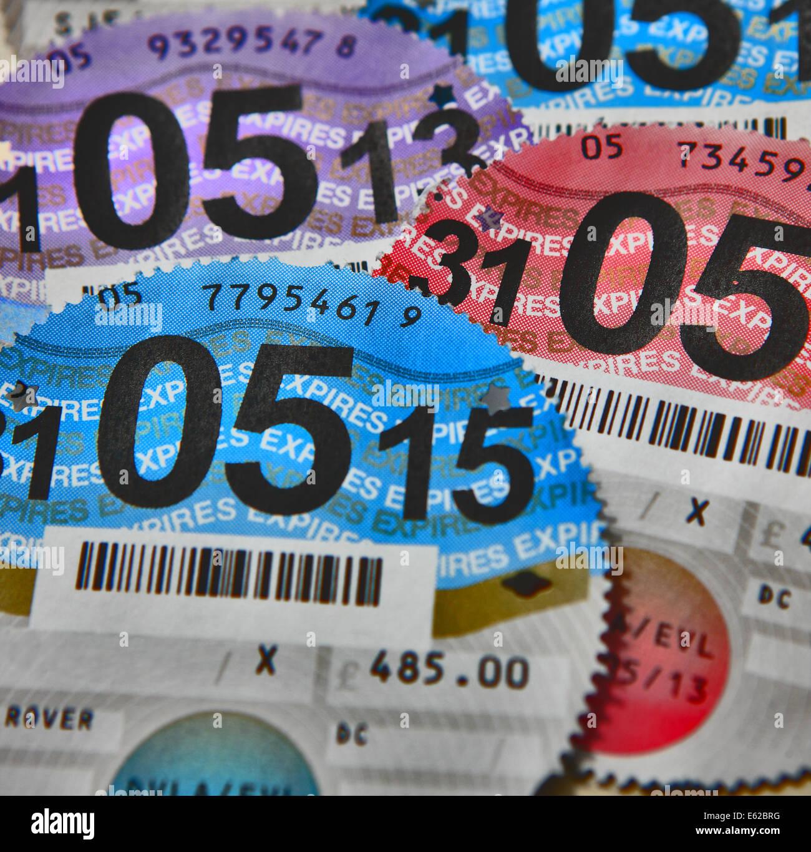UK tax discs - Stock Image