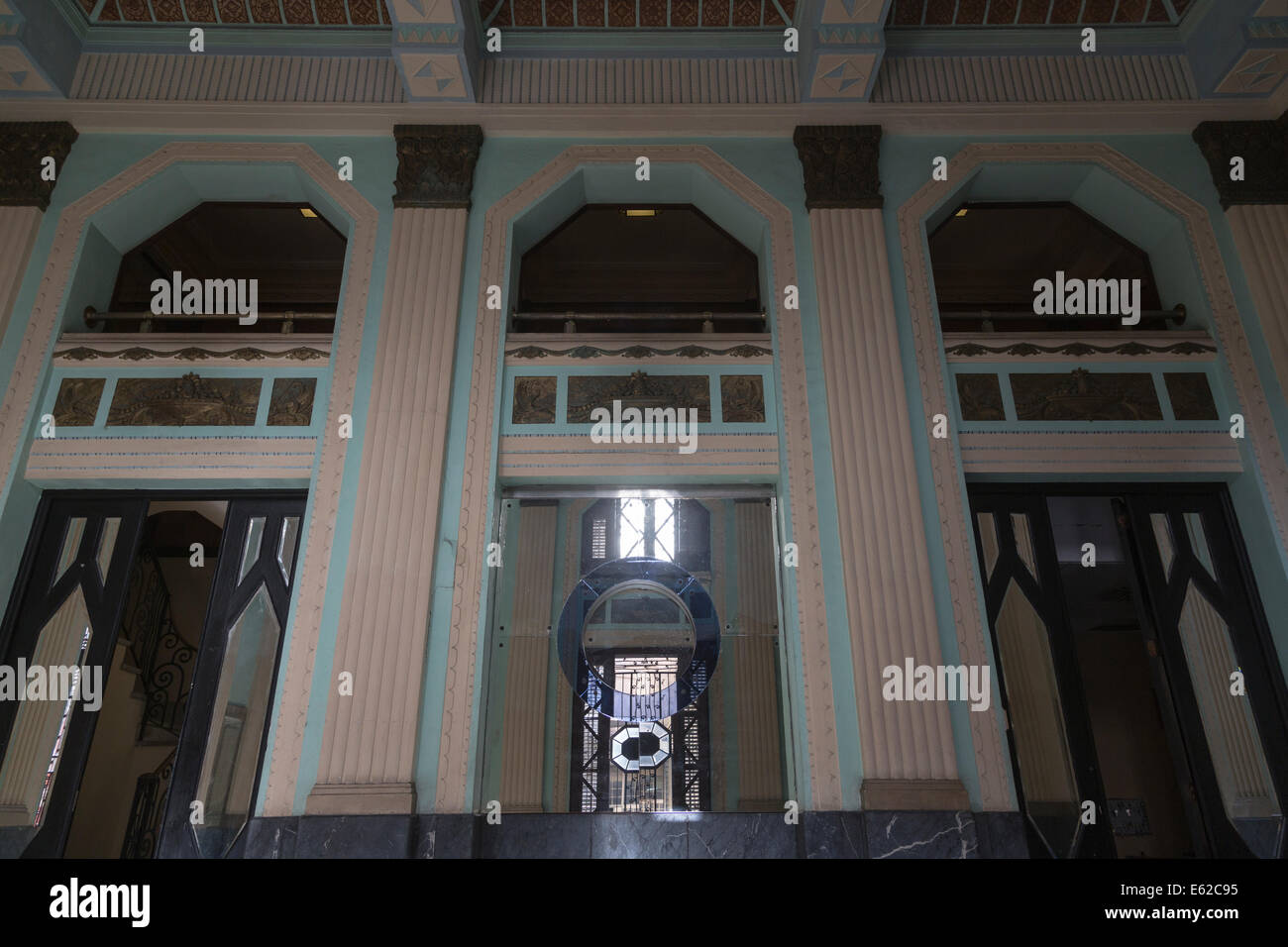 lobby, Bacardi building, art deco masterpiece, Havana, Cuba - Stock Image