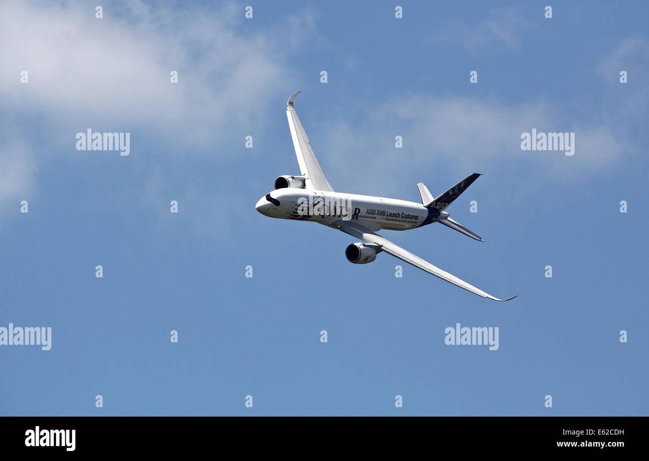 Airbus A350 at Farnborough Airshow 2014 - Stock Image