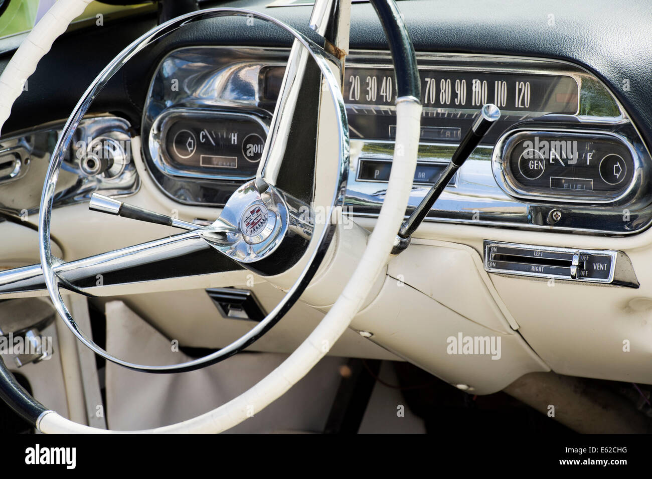 1950s cadillac dashboard and interior abstract classic american car stock photo 72583212 alamy. Black Bedroom Furniture Sets. Home Design Ideas
