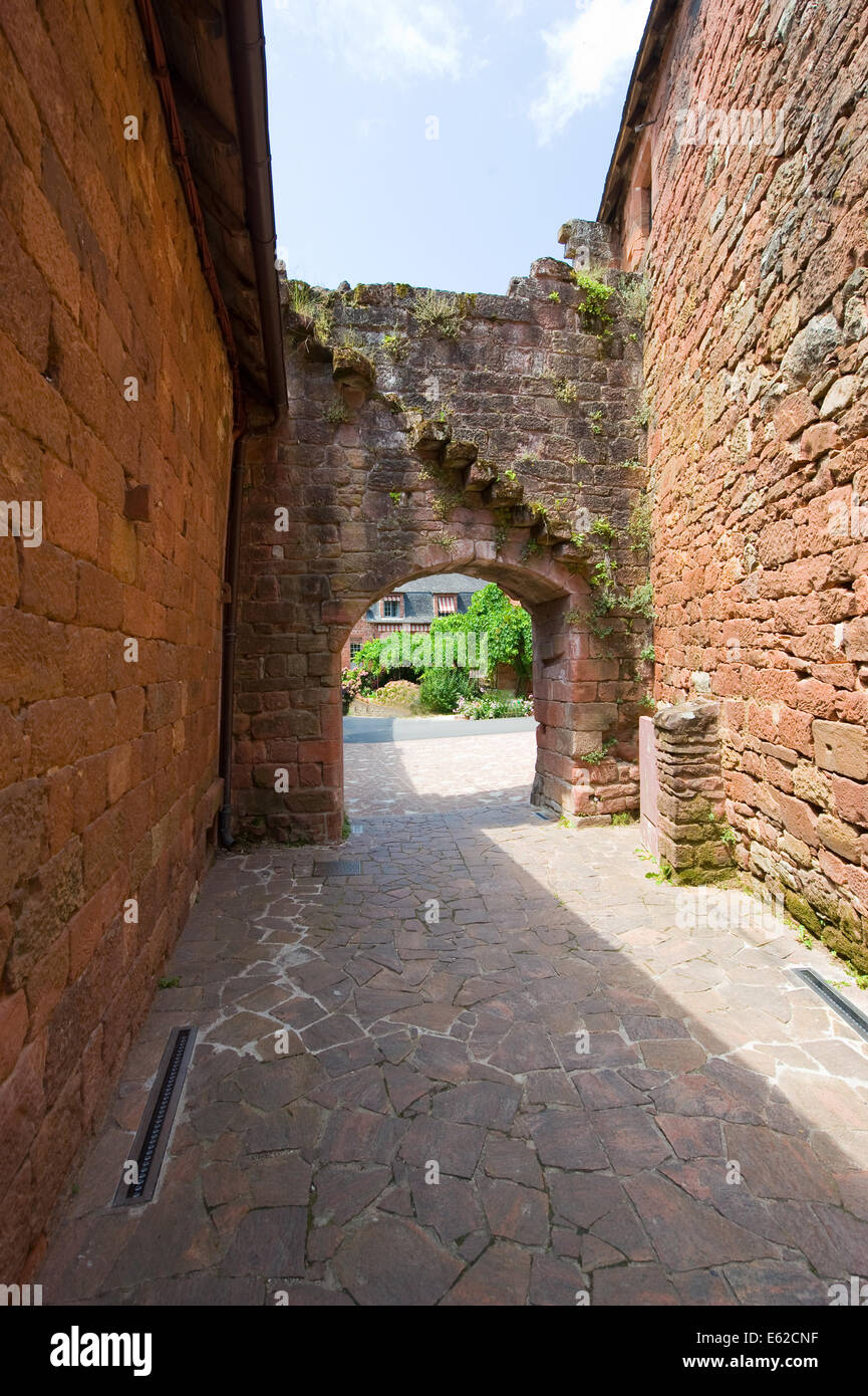 All the houses in the small picturesque city of Collonges la Rouge in France are built with red bricks. - Stock Image
