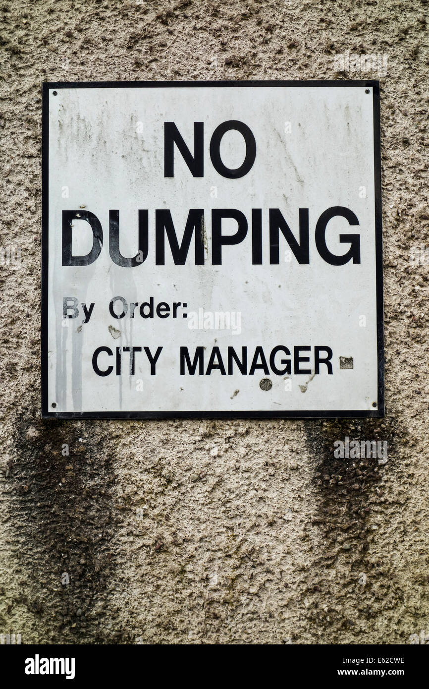 No Dumping sign in Cork, Ireland. - Stock Image