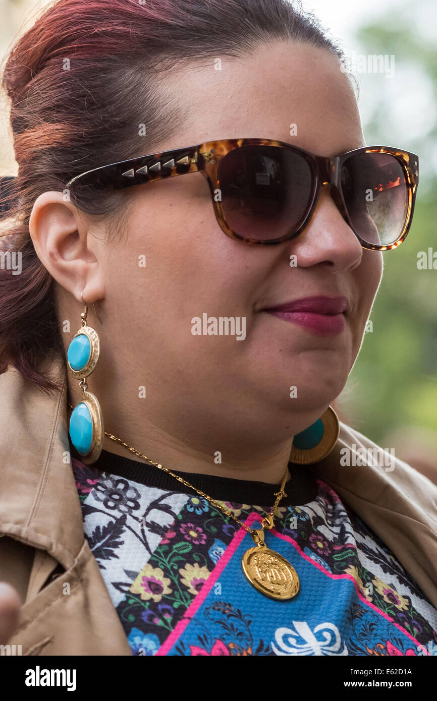 London, UK. 12th Aug, 2014. Amal Elwahabi arrives at Old Bailey court on terrorism charges Credit:  Guy Corbishley/Alamy - Stock Image