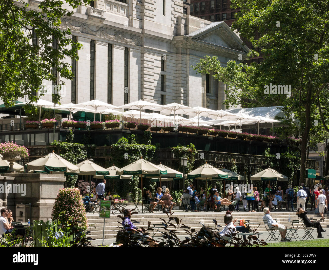 Bryant Park Grill Restaurant And Umbrellas In Bryant Park