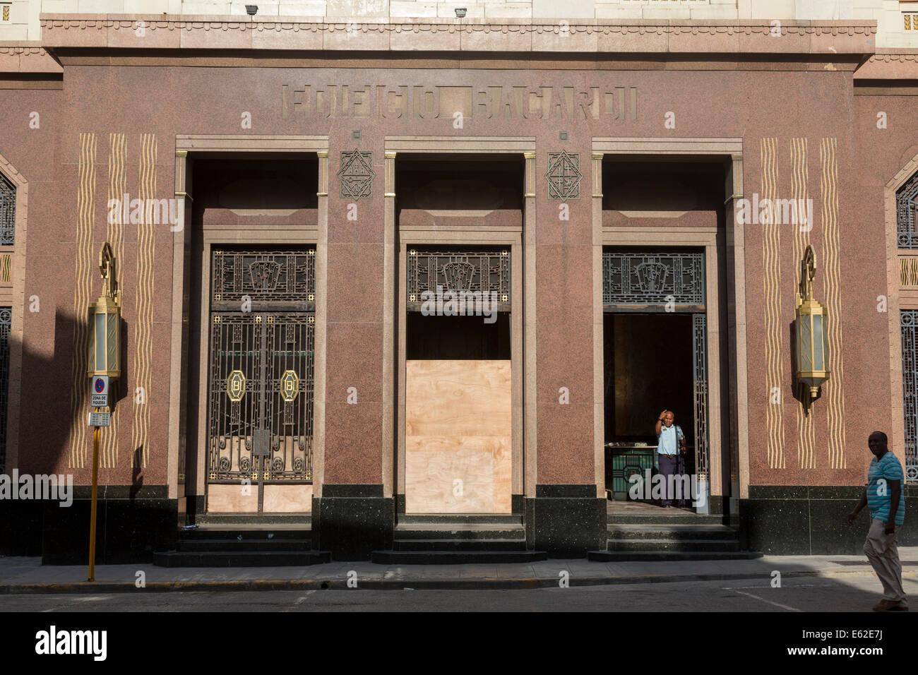 entrance, Bacardi building, art deco masterpiece, Havana, Cuba - Stock Image