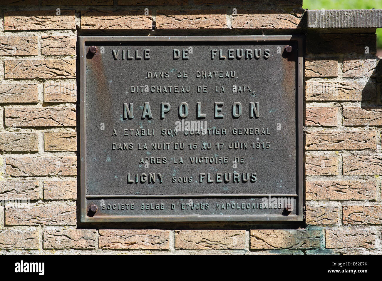 Brass commemorative plaque of Napoleon's overnight - Stock Image