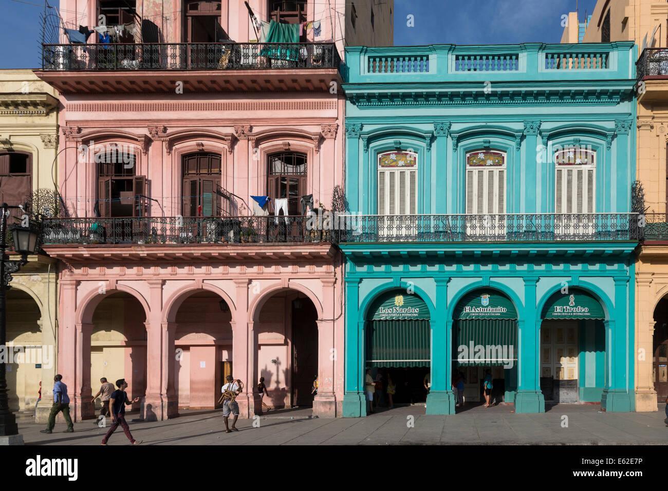 buildings opposite the Capitol, Paseo del Prado (Marti), Havana, Cuba - Stock Image