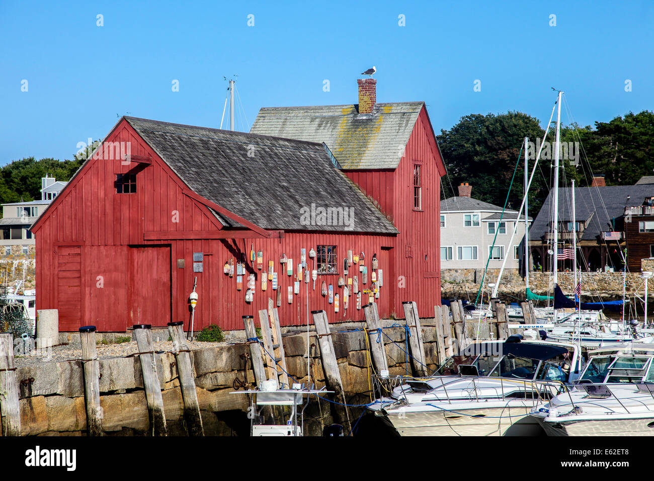 ROCKPORT-AUGUST 08:  A view of Rockport Harbour and the red building know as Motif Number One, Rockport, Massachusetts, - Stock Image